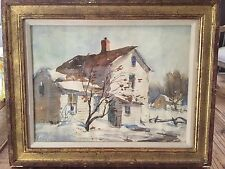 "original watercolor ""winter snow"" Henry Martin Gasser, American (1909 - 1981)"