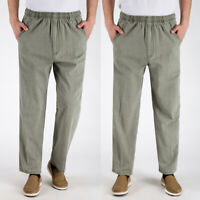 Mens Cotton Linen Blends Loose Pants Beach Drawstring Casual Long Slacks Trouser