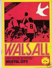 WALSALL V BRISTOL CITY   FREIGHT ROVER TROPHY  28/1/86