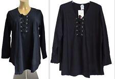 NEU Übergröße schickes Damen Langarm Shirt mit Schnürung in schwarz Gr.52