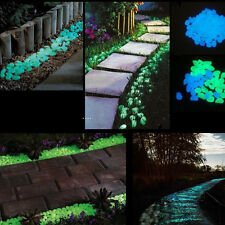 100PCS Glow In The Dark Fluorescent Luminous Pebbles Stones Walkway Garden Decor