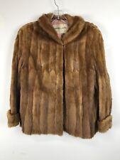 ELEGANT Vintage Genuine Canadian Whiskey Dyed Mink Fur Coat Women's XL
