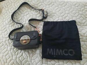 Mimco Black and Rose Gold Turnlock hip crossbody bag EUC