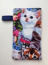 Sunglasses / Eyeglass Soft Fabric Case -Multi-cat Prints - padded and lined