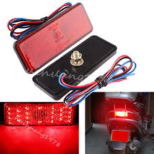 2X Motorcycle Car square Brake License Plate Stop Turn Signal Tail Lights 24 LED