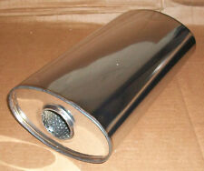 """7"""" x 4"""" Oval x 12"""" Long universal stainless steel exhaust silencer"""