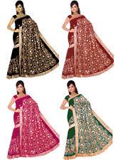 Wholesale Job Lot of 3 Saree Wedding Bollywood Sequin Embroidery Sari Indian D3