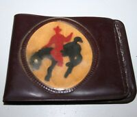 WOW Vintage Brown Toy Vinyl Western Cowboy Rodeo Child's Wallet Rare