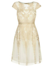 "Anthea Crawford ""Glimmer"" Gold Lace Cocktail Dress Size 12 