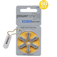 60 PowerOne Size 10 Hearing Aid Batteries + Free Keychain/2 Extra Batteries