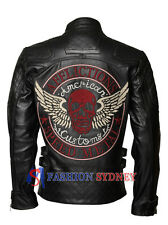 Men's Skull Embroidered Speed Metal Biker Black Cowhide Genuine Leather Jacket