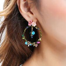 orecchini A perno Dorato Grandi Anello Fiore Germoglio Smalto Rosa Blu Verde L2