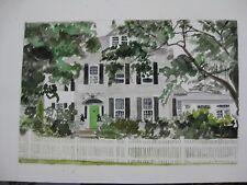"""Original Watercolor/House w.Green Door,Litchfield, CT/20""""x13 1/4""""/MimiDavisArtst"""
