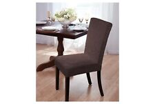 Madison Velvet Damask (1) Dining Room Chair Cover Brown Slipcover
