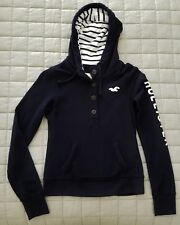 HOLLISTER Graphic Logo Stripe Pullover Hoodie Navy Blue Long Sleeve Top - S NWT