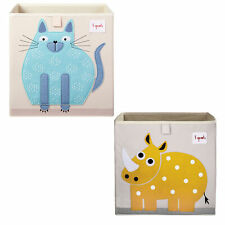 3 Sprouts Children's Fabric Storage Cube Bundle with Blue Cat and Yellow Rhino