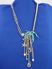 Betsey Johnson Gold Shell Shocked Fish Bones Charm Tassel Ribbon Weave Necklace