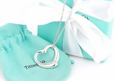 """Tiffany & Co. Silver Elsa Peretti Large Open Heart 18"""" Necklace w/ Packaging"""