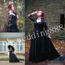 Plus Sizes Fall Winter Gothic Wedding Dress Black Beads Long Sleeve Bridal Gown