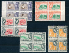 DOMINICA 1954 DEFINITIVES SG154/158 (HIGH VALUES) BLOCKS OF 4 MNH (1)