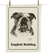 Mike Sibley English Bulldog dog breed cotton tea towel - dog lover gift