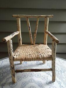 Vintage Antique Adirondack Small Twig Chair w/ Original Paint & Seat