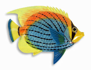 """Hand Painted 15"""" Tropical Fish Wall Mount Decor Sculpture Blue Yellow Top 76A-2"""