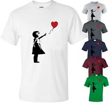 BANKSY GIRL WITH HEART BALLOON T-SHIRT/Balloons/Graffiti/Gift/Xmas/Love/Top/Tee