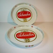 New listing Schaefer 12� Round Metal Beer Trays - Two-Sided Design Lot of 2