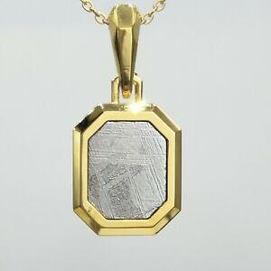 Genuine 24K Yellow Gold Plated Muonionalusta Meteorite Pendant Etched Squar Type