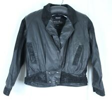 VTG Black Leather Suede Womens Bomber Jacket XL Snap Waist Thinsulate Lining