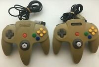 Lot of 2 Nintendo 64 N64 Controllers Gray - AUTHENTIC | TESTED! shows yellowing