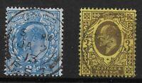 SG283 & 285.  Harrison Perf.15x14 - 2&1/2d.Br.Blue & 3d.Purple/Lemon.   Ref:0394