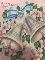 Vintage Wedding Card MCM Glitter Bells Mica Pink blue Silver POP Up