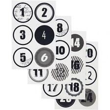 Advent Calendar Autocollant Set-Noël numéro Étiquettes Étiquettes-Noir Blanc Rond