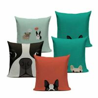 French bulldog pattern cotton linen throw pillow case cushion cover home dec iz