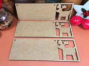 WOODEN REINDEER SIGN MDF (x3) christmas wood shape decoration xmas craft hanger