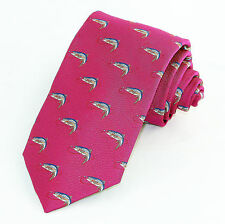 Fly Fishing Mens Woven Silk Neck Tie Dress Magenta Necktie Suit Fashion Gift New