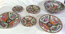 6 Antique 19th C Chinese Porcelain Rose Medallion Famille Plates Bowls