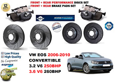 FOR VW EOS CAB V6 2006-2010 FRONT REAR PERFORMANCE DRILLED BRAKE DISC + PADS KIT