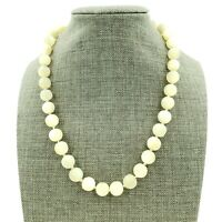 CINER Mother of Pearl Knotted Lustrous Translucent Bead Necklace Signed Vintage