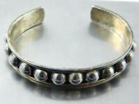 Vintage Taxco Mexico Ball Beaded Cuff Bracelet Sterling Silver 925 TL-120 28.6 G