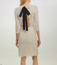 NWT Nicole Miller Bow tie Ivory Lace dress size 4 retails for 198.00