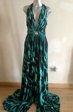 $1895 Versace collection green leapard print long dress,size 40-42(4-6-8)