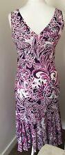Pretty Midi Dress Size 12 /14 Purple Lavender Print. Wedding Party Summer Beach