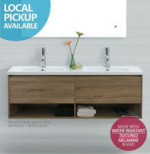 EDEN | 1500mm White Oak Timber Wood Grain Wall Hung Double Vanity w Towel Shelf