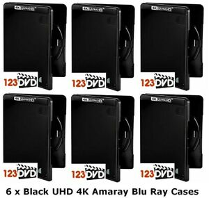 6 x Black UHD 4K Blu Ray Case (Single Disc) - Genuine AMARAY *FAST UK DISPATCH*