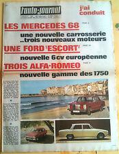 >L'AUTO-JOURNAL n°446 du 01/1968; Les Mercedes 68/ 3 Alfa Roméo/ Ford Escort