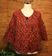 Chunky Crocheted Cardigan Sweater XL Relativity Cropped Multi Color Reds