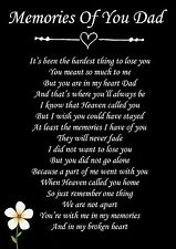 Memories Of You Dad Memorial Graveside Poem Card & Free Ground Stake F76